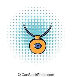 estilo, olho, cômico, contra, amuleto, Mal, ícone