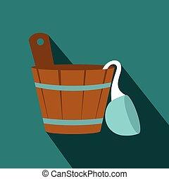 Russian bath tub icon, flat style - Russian bath tub icon in...
