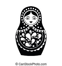 Russian matryoshka icon, simple style