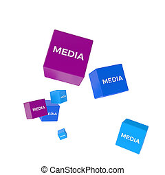 MEDIA word on colored cubes, creative business concept