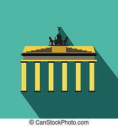 Brandenburg gate icon in flat style on a blue background