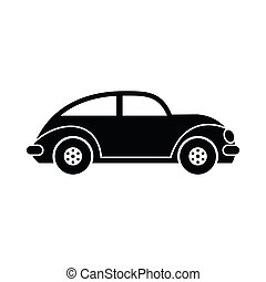 Car vintage car icon in simple style isolated on white