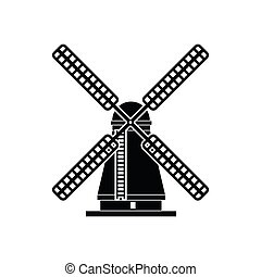 Windmill icon, simple style
