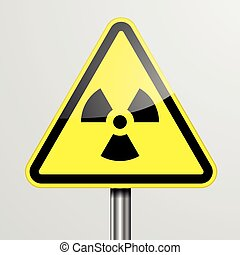 Warning Sign Radiation - detailed illustration of a yellow...