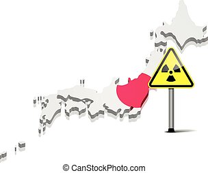 Japan with Radiation Sign - detailed illustration of a map...