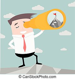 Businessman with Spyglass - illustration of a businessman...