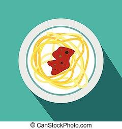 IItalian pasta icon, flat style