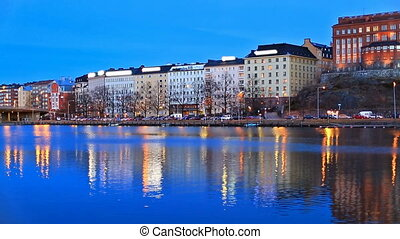 Night scenery of Helsinki, Finland - Scenic night panorama...