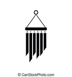 icono, carillones, estilo, viento,  simple