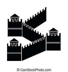 Great Wall of China icon, simple style - Great Wall of China...