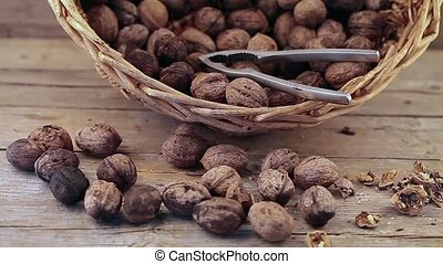 Walnuts Basket - Video clip of walnuts basket and nut...