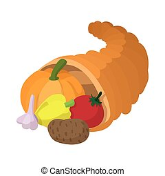 Cornucopia cartoon icon isolated on a white background