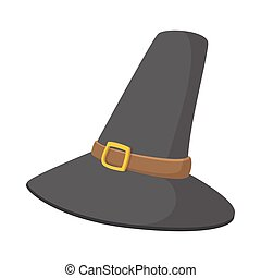 Gorgeous pilgrim hat cartoon icon on the white background