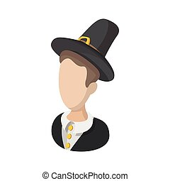 Pilgrim man cartoon icon isolated on a white background