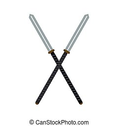 Japanese kendo sword flat icon isolated on white