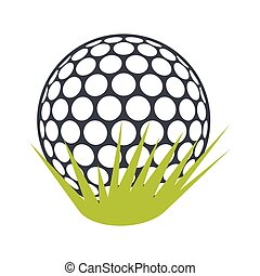Golf ball on green grass flat icon
