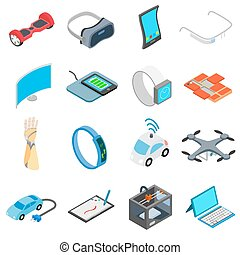 New technology icons set in isometric 3d style isolated on...