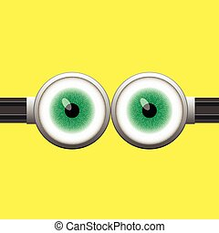Goggle with Two Green Eyes on Yellow Color Background