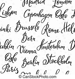 Lettering seamless pattern europe capitals