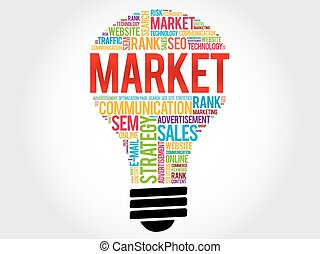 MARKET bulb word cloud, business concept