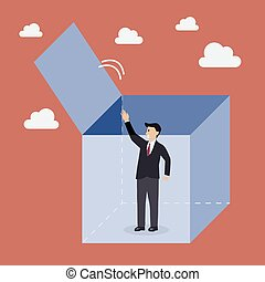 Businessman try to get out of the box Business metaphor