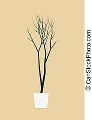 Dead tree in pot Interior decoration vector illustration