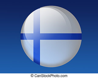 Finnish Flag - country flag round shape on the blue...