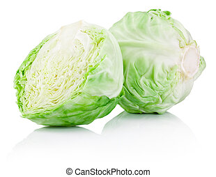 Green cabbage isolated on a white background