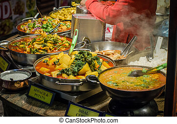 Street food in London - Some spicy dishes of traditional...