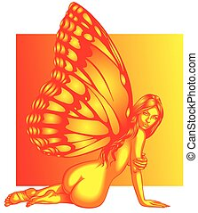 beauty butterfly woman isolated