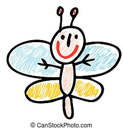 beauty butterfly drawn by child isolated