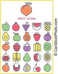 Fruit icons color set
