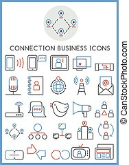 Connection business icons set
