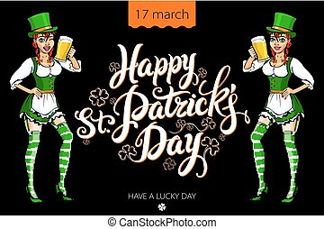 Funny irish girl holding a beer. Happy St. Patrick´s day