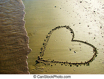 heart - a heart drawn in the sand.