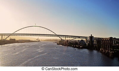 Fremont Bridge at Sunset - View of the Willamette River and...