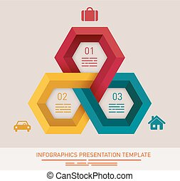 Presentation template with three different colored hexagonal...