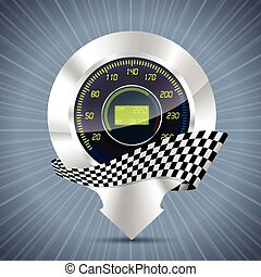 Cool pointer with speedometer and race flag
