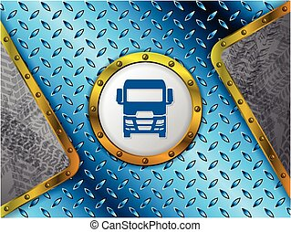 Abstract industrial background with tire tracks and truck silhouette