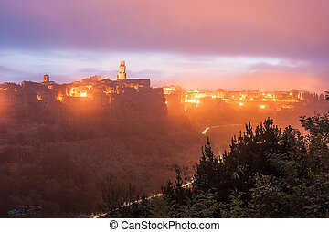 Pitigliano at Night in Light of Lanterns - The ancient...