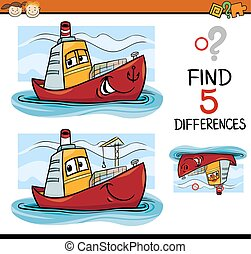find the differences task for kids - Cartoon Illustration of...