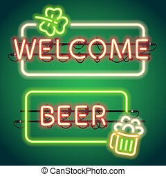St Patricks Day Neon Frames - St Patricks Day glowing neon...