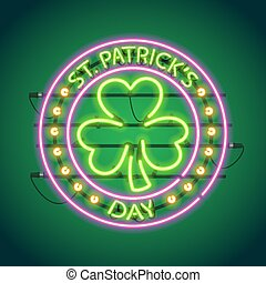 St Patricks Day Round Neon Sign Used pattern brushes...
