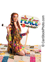 Young hippie girl - Young pretty hippie girl with peace...