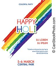 Happy Holi party vector invitation poster