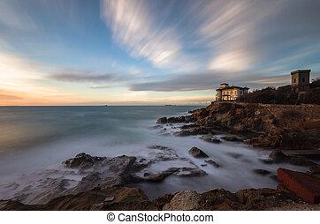 Boccale castle and rocky coast - The Romito's rocky coast in...