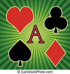 Poker - Illustration of the symbols of poker on a green...