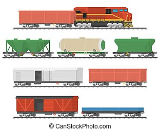 Collection of freight railway cars.