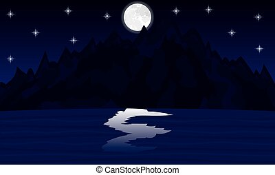 night landscape mountain lake in the moonlight