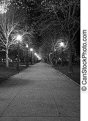 cidade, parque, calçada
